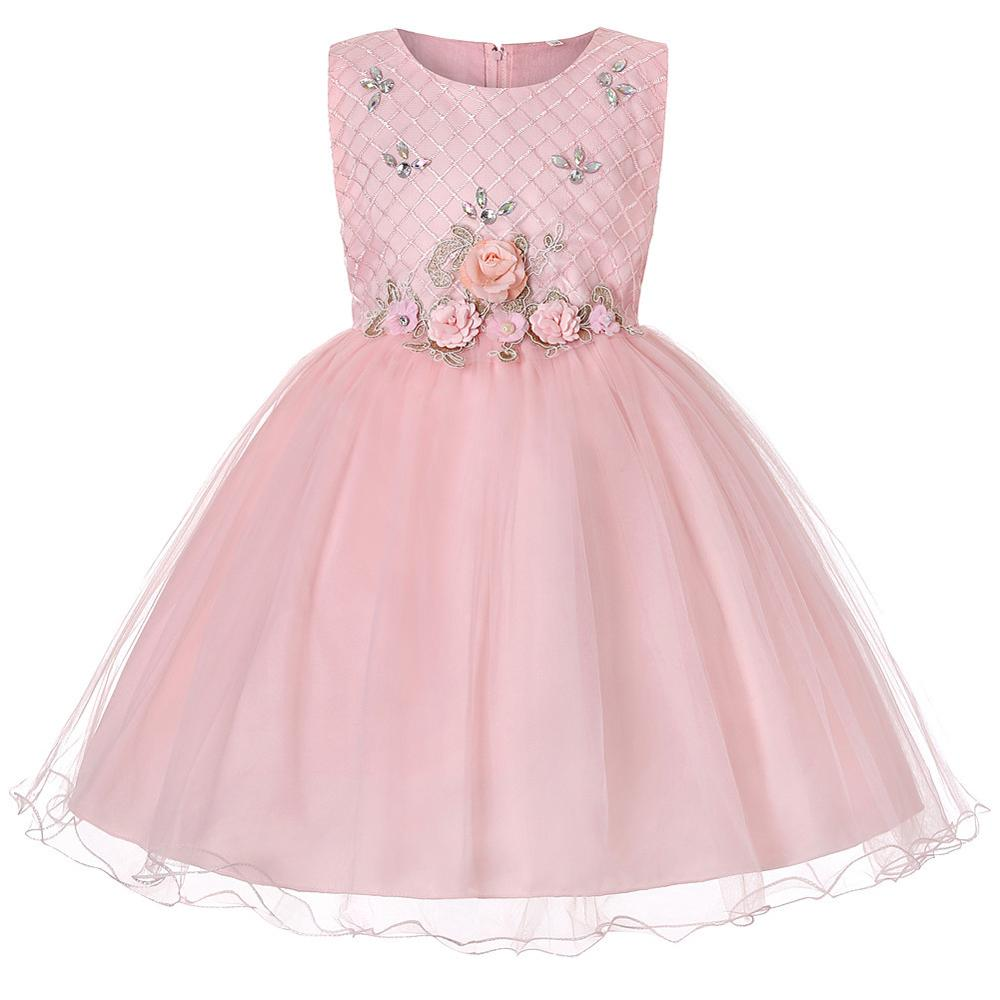 European and American style Princess Dress    pink Prom  girl flower dress   Children's performance dress for 10 years old