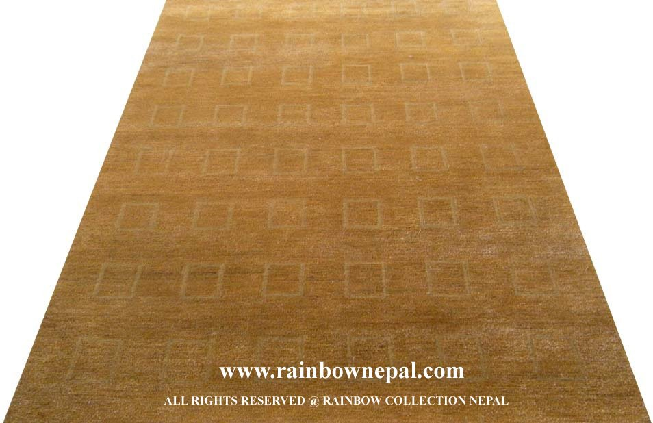 Nepal Custom Hand Knotted Natural Wool Hemp Rug