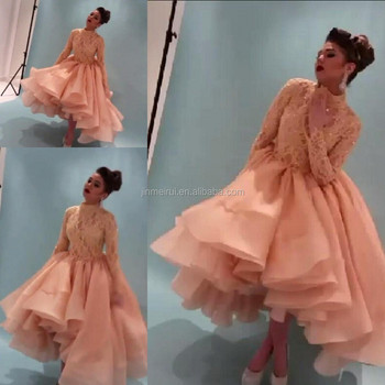 New Arrival Stunning Orange Myriam Fares High Neck Long Sleeve Lace Dress Evening Dress Peach Prom Dresses Buy Evening Dressevening Gownsevening