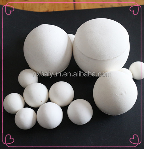 92% 30mm, 40mm, 50mm, 60mm High Alumina Ball/Sphere Pebbles As Grinding Media/Lining Media For White Cement ball Mill
