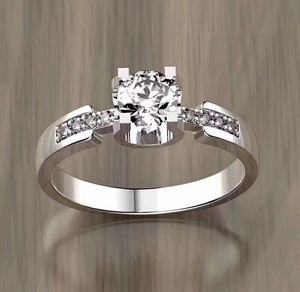 925 Sterling Silver Jewelry Round Cut Pink Cubic Zirconia Diamond Rhodium Engagement Diamond Ring