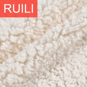100% polyester bulk white heavy weight faux sherpa pile lining fleece fabric