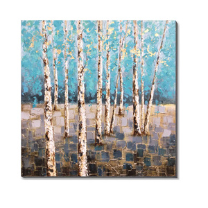 Modern Custom Abstract Tree Oil Painting Handpainted Stretched Wall Art