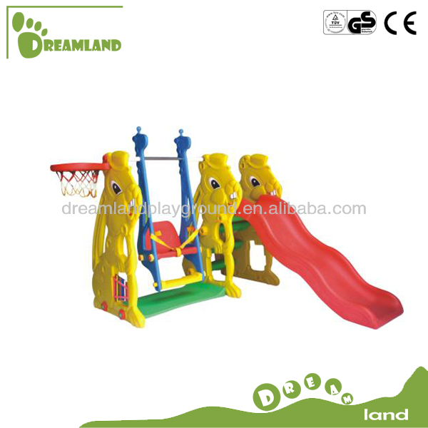 Colorful plastic slide swing set