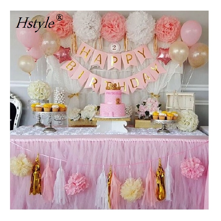Baby Pink Gold White Shower Decorations For Girl SDS030