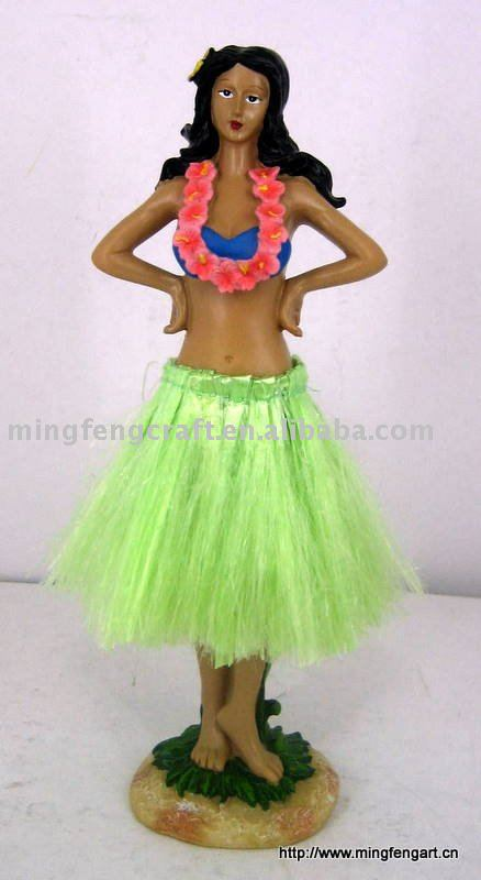 polyresin hawaii hula girl hip bobble figurine