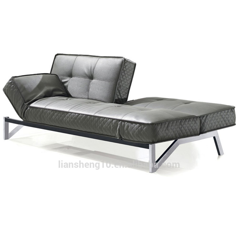 modern french futon sofa bed lounge leather sofa bed with metal legs in living room