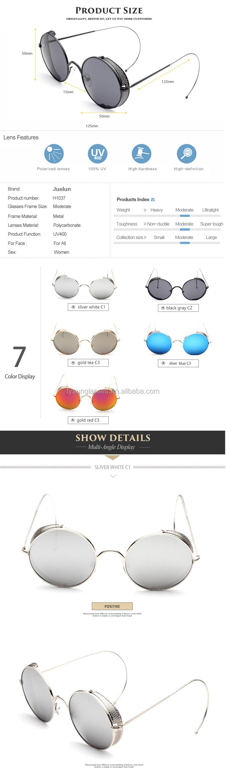 1219b203776 Fashion Steampunk Sunglasses Women Brand Designer Mesh side cover curved  leg Round Vintage Sun Glasses Metal