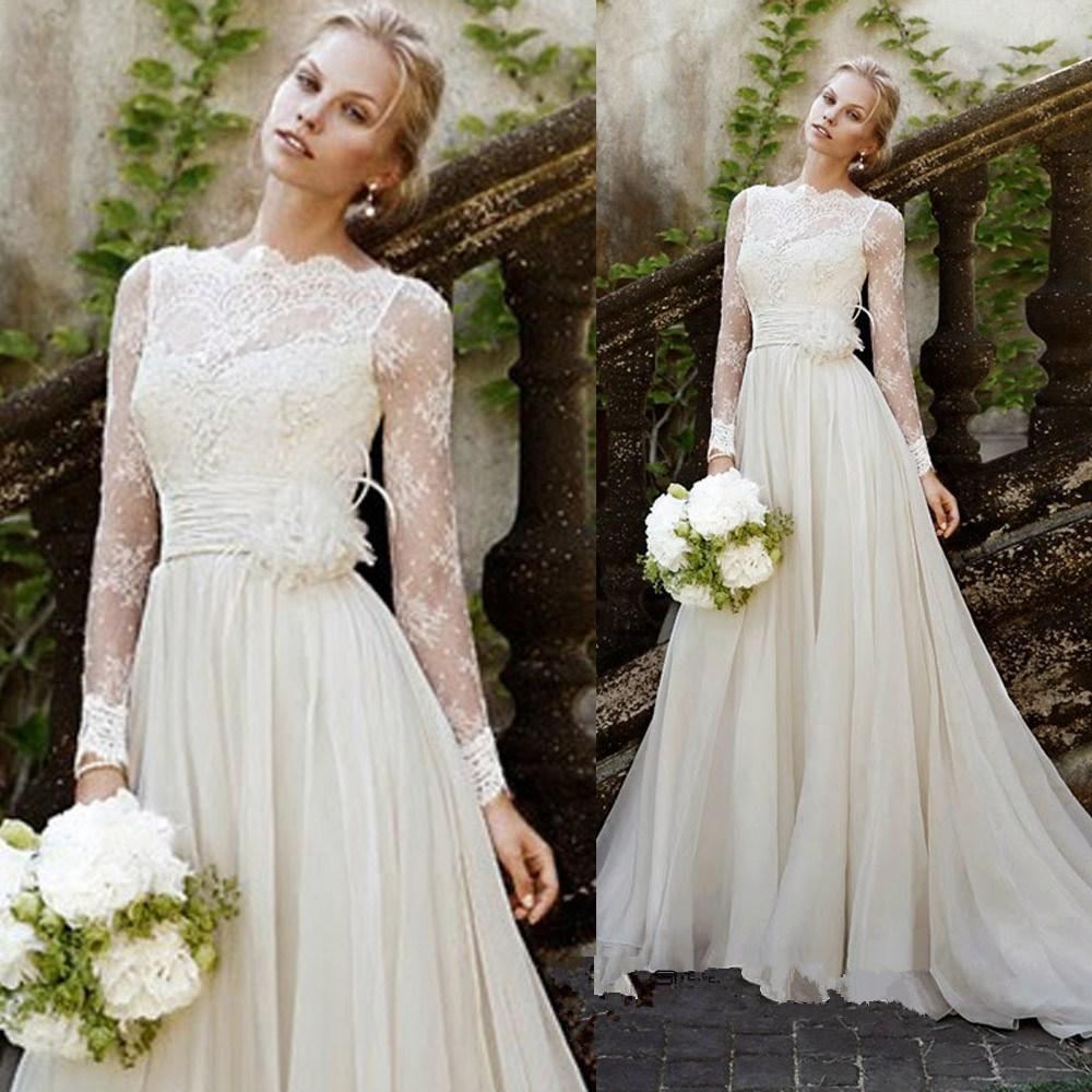 Long Sleeve Lace Wedding Dresses Elegant Elegant Long
