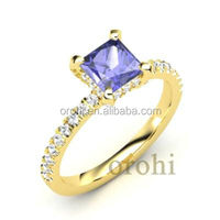 Exquisite Wholesale royal tanzanite diamond ring 18k yellow gold diamond AAAA engagement ring HG305-Tanzanite