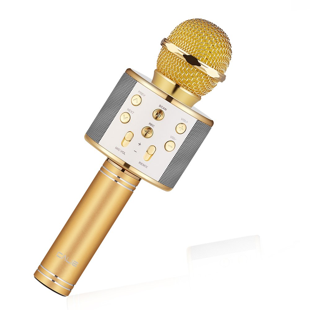 Calie Wireless Bluetooth Karaoke Microphone, 4-in-1 Portable Handheld Bluetooth Speaker Player,Selfie Function for Apple iPhone Android Smartphone-Gold