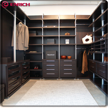 Aluminum Pole System Wooden Wardrobe Cabinet Closet Sliding Doors Walk In  Closet Organizers