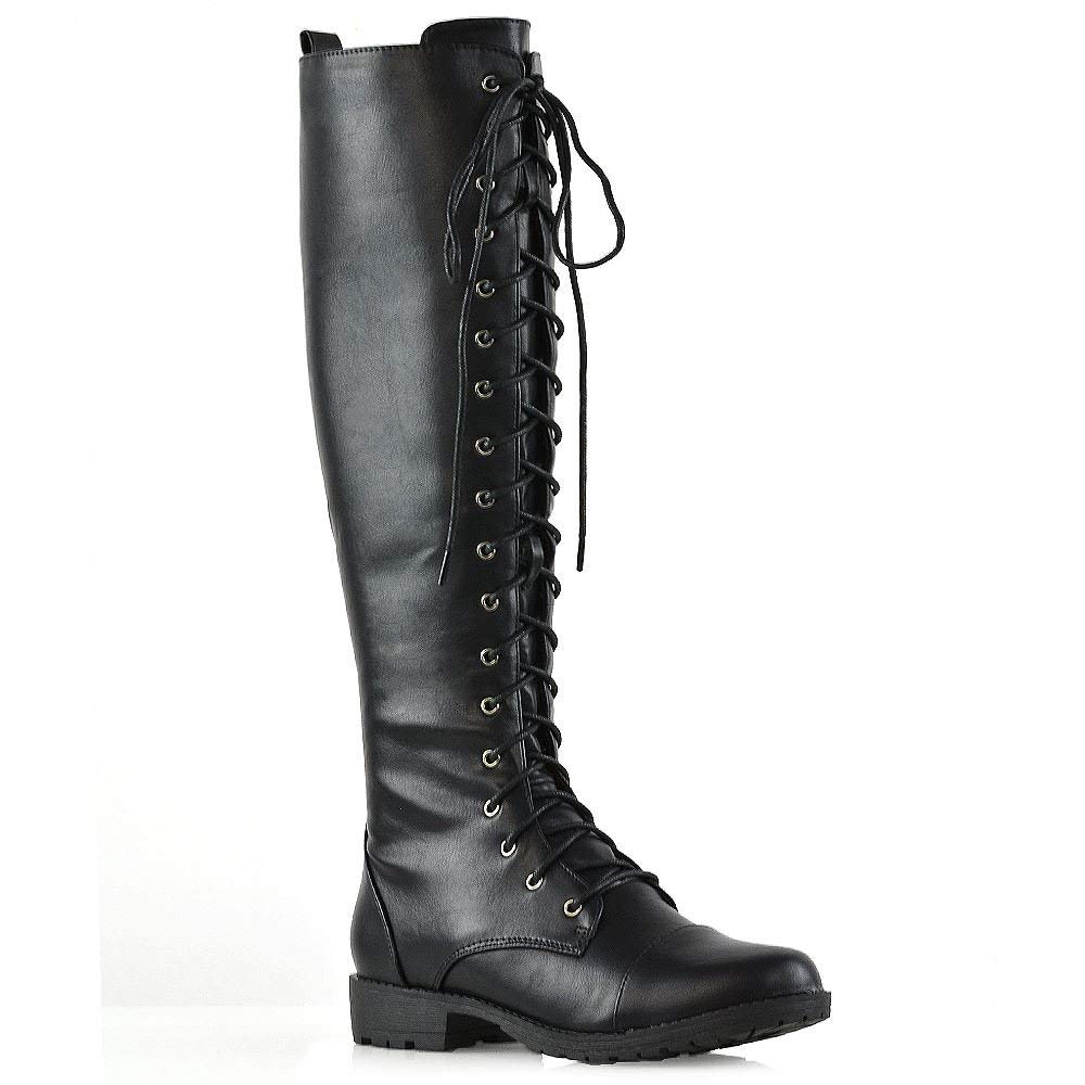 12334f0bd4a Get Quotations · ESSEX GLAM Womens Knee High Biker Boots Lace Up Zip  Adjustable Calf Casual
