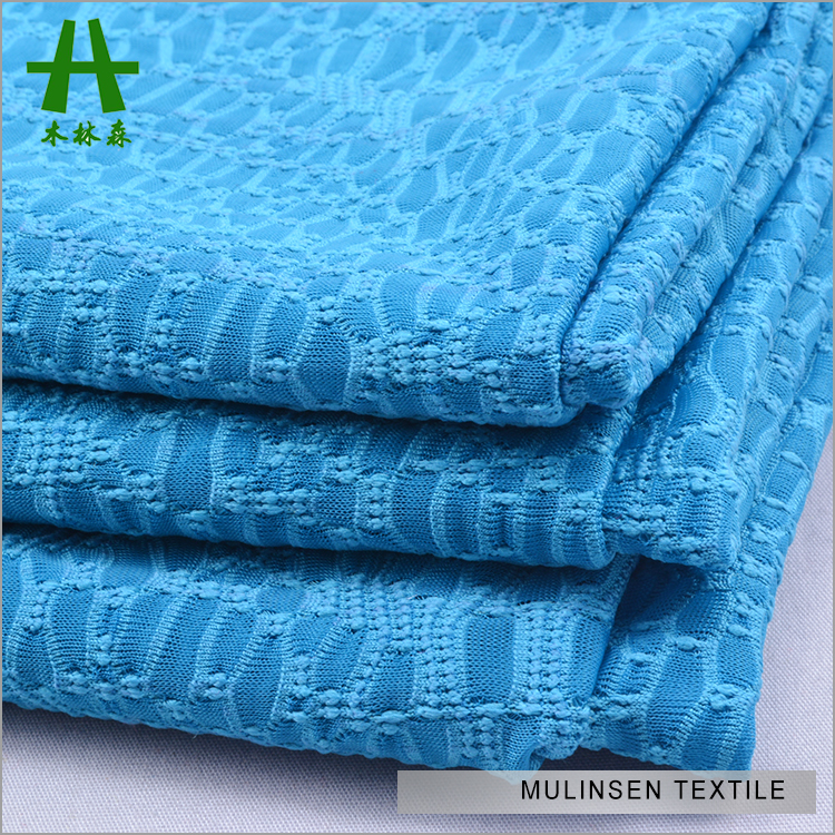 Mulinsen Textile Polyester Spandex Blue Color Dyed New Kinds Of Cheap Jacquard Fabrics