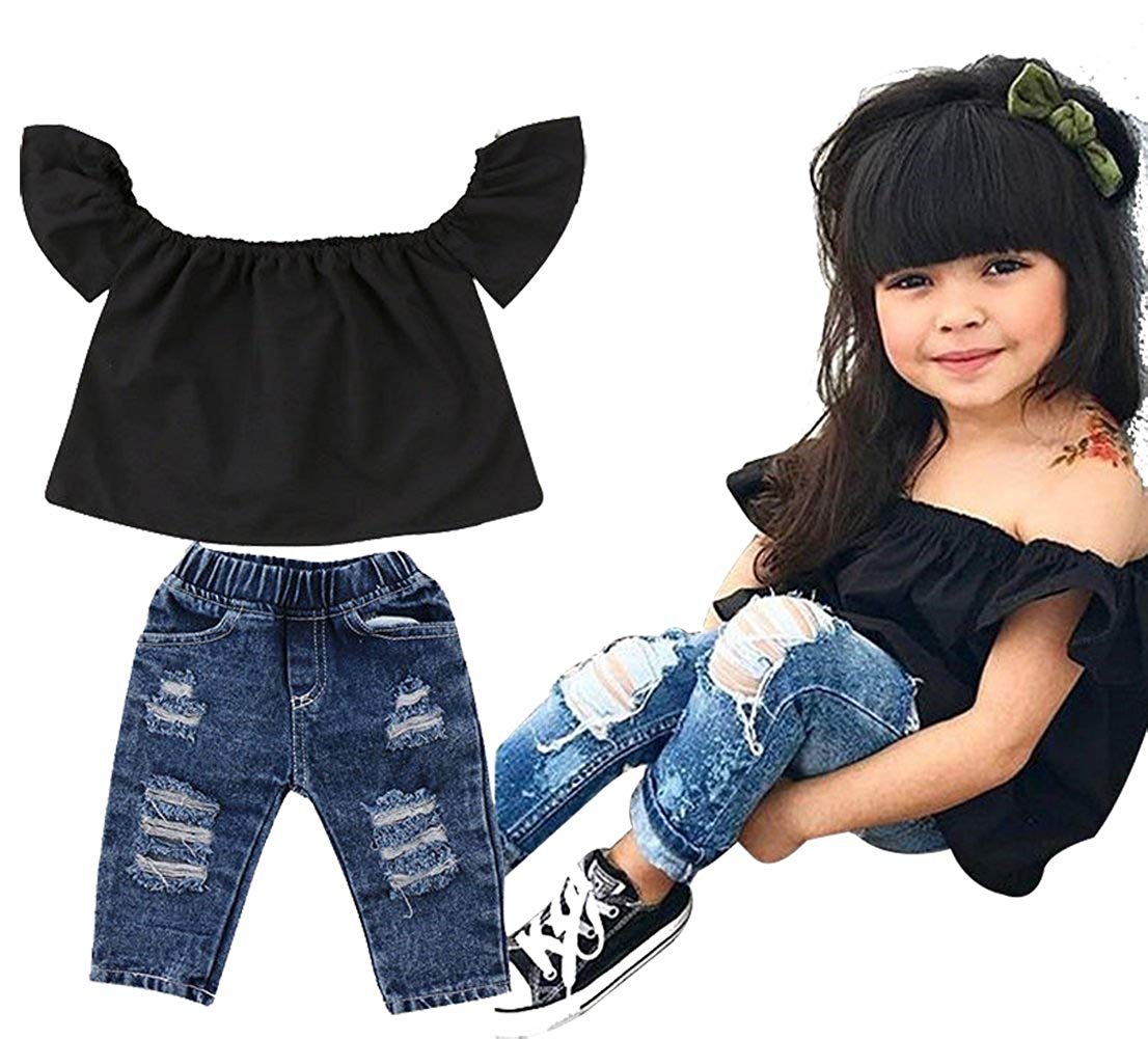 Kids Baby Girls Off-Shoulder Ruffle Sleeve Shirt Tops+Hole Denim Pants 2Pcs Outfits