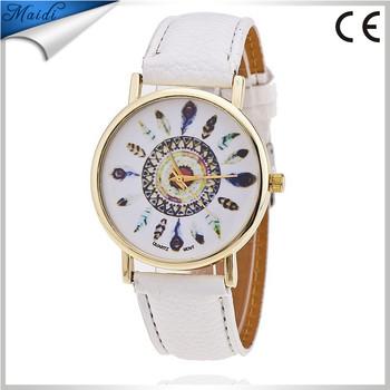 f8326503f1f Fashion Leather Feather Geneva Dreamcatcher Watch Ladies Casual Quartz Watches  Ladies Wrist Watch Relogio Feminino LW037