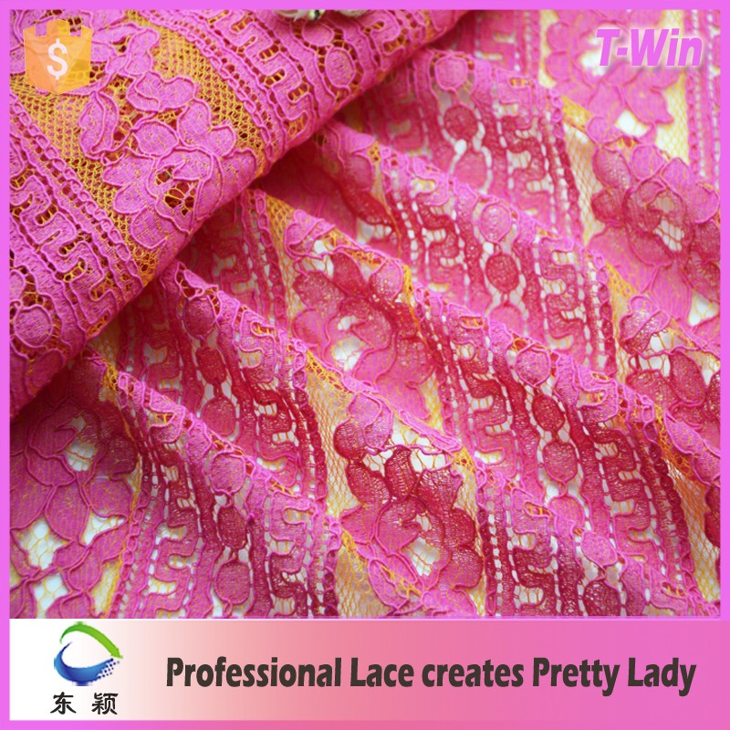 2016 pink lace with flower lace fabric wholesale