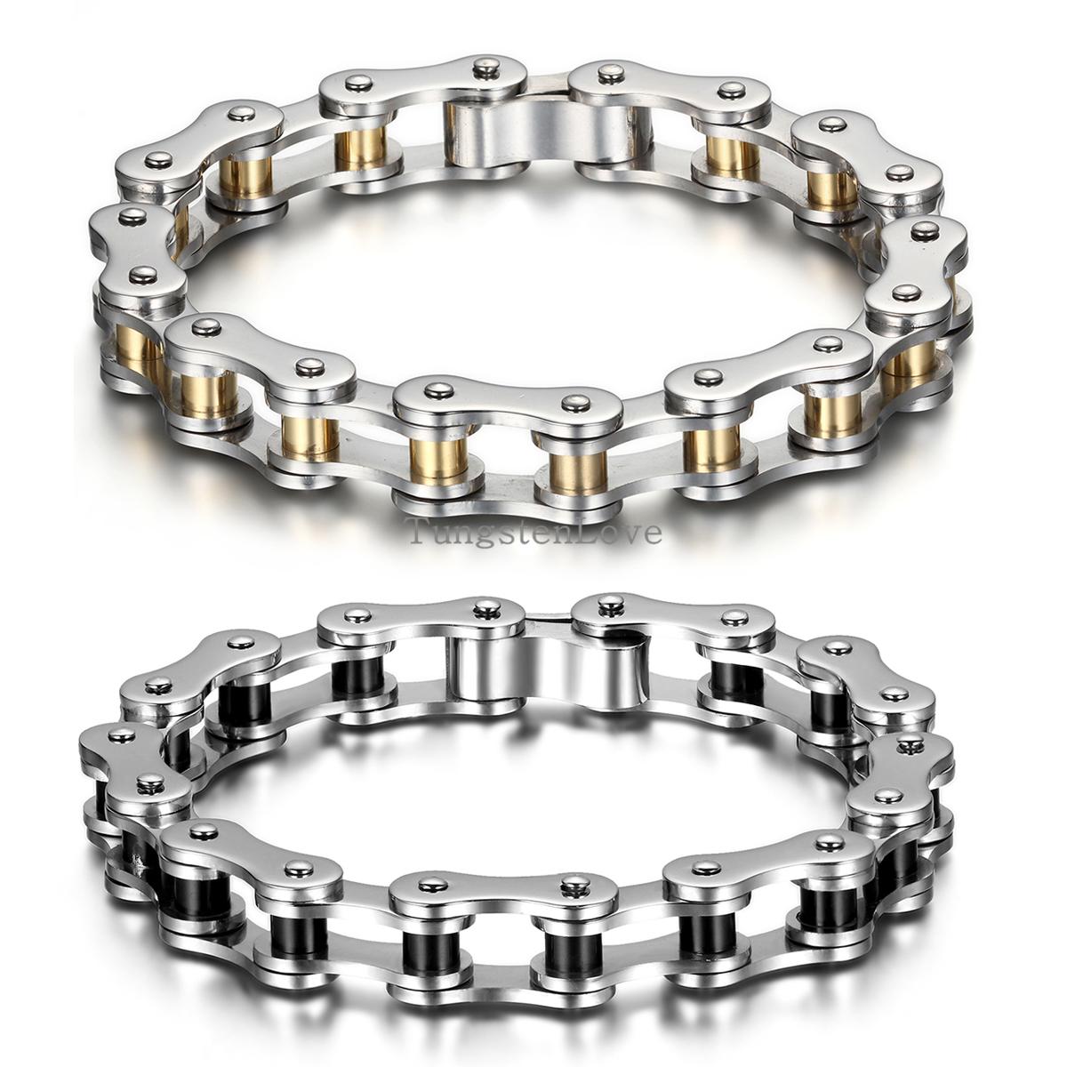22cm*10mm Punk Stainless Steel Bracelet Men Biker Bicycle Motorcycle Chain Men's ...