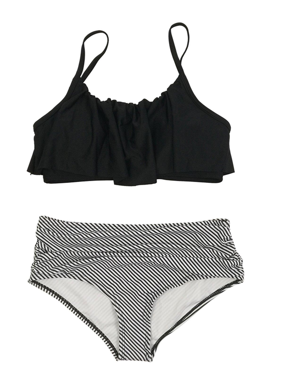 8eaf36560ad23 Get Quotations · Zando Women High Waist Tummy Control Bikini Swimsuit  Vintage Ruffled Flounce Two Piece Bikini Set Bathing