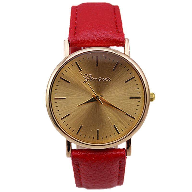 popular models geneva brand fashion gold smooth sunny face pu leather strap lady vogue quartz watch