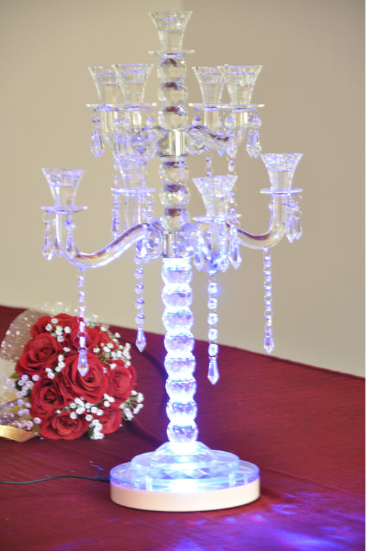 Candelabra/vase Decoratives Led Light Base For Wedding Tall Glass ...