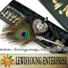peacock feather dip fountain pen with ink bottle pen nibs pen base penholder in gift box