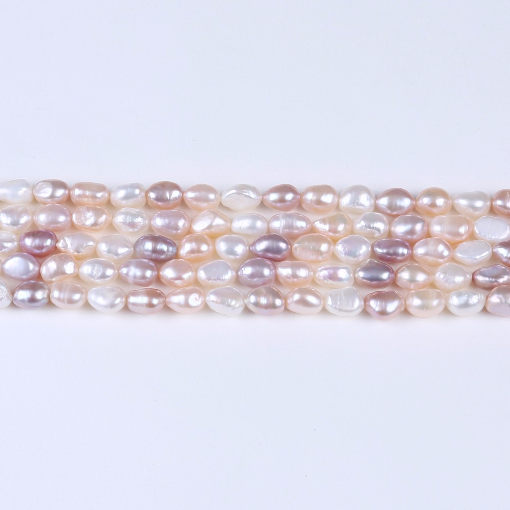 8-9mm Water White pink purple Freshwater Baroque Cultured Pearl Loose Beads 16""