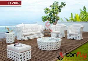 TF-9048 Outdoor Wicker Patio 6 Piece Sofa Set In White with white Cushions