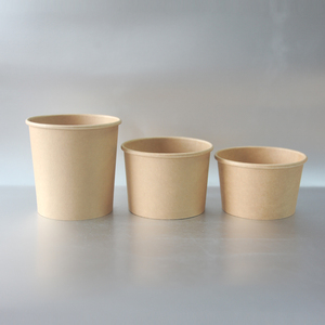 Popular brown kraft paper ice cream cup with spoon