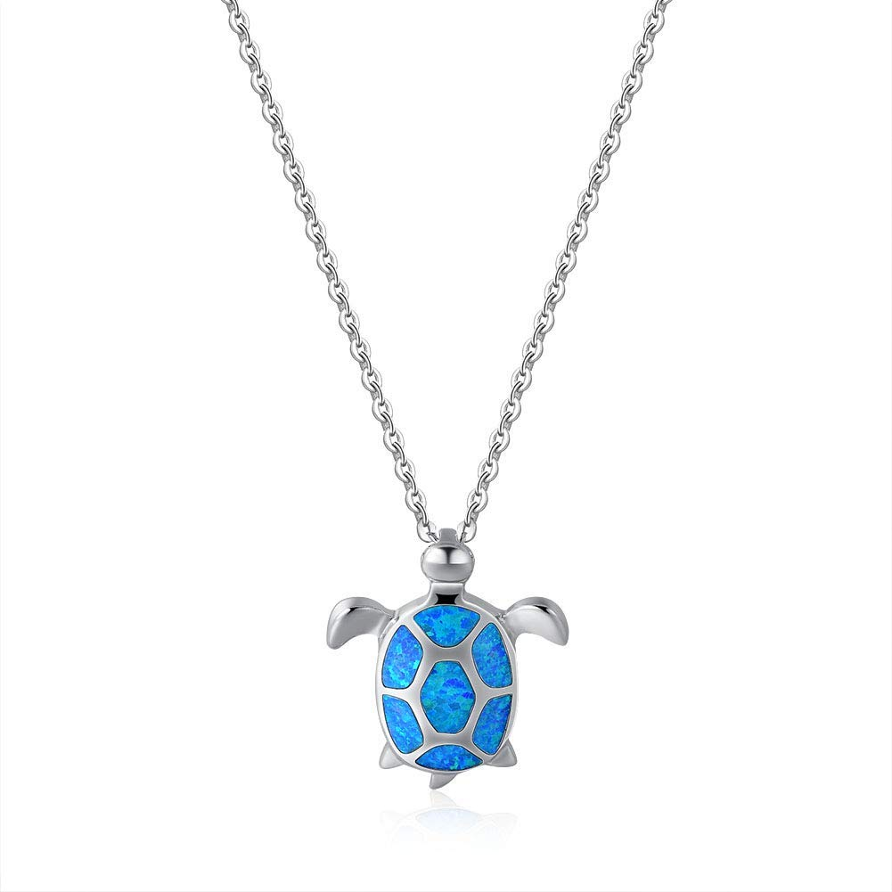 Fancime 925 Sterling Silver Sea Turtle Pendant Necklace Blue Created Opal Jewelry for Women Girls 18""