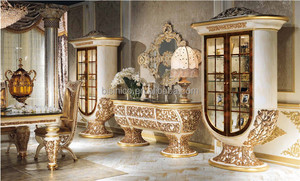 Italy Palace Ornate Dining Room Furniture, Solid Wooden Engraved Marquetry Glass Top Buffet & Hutch, Luxury European Style