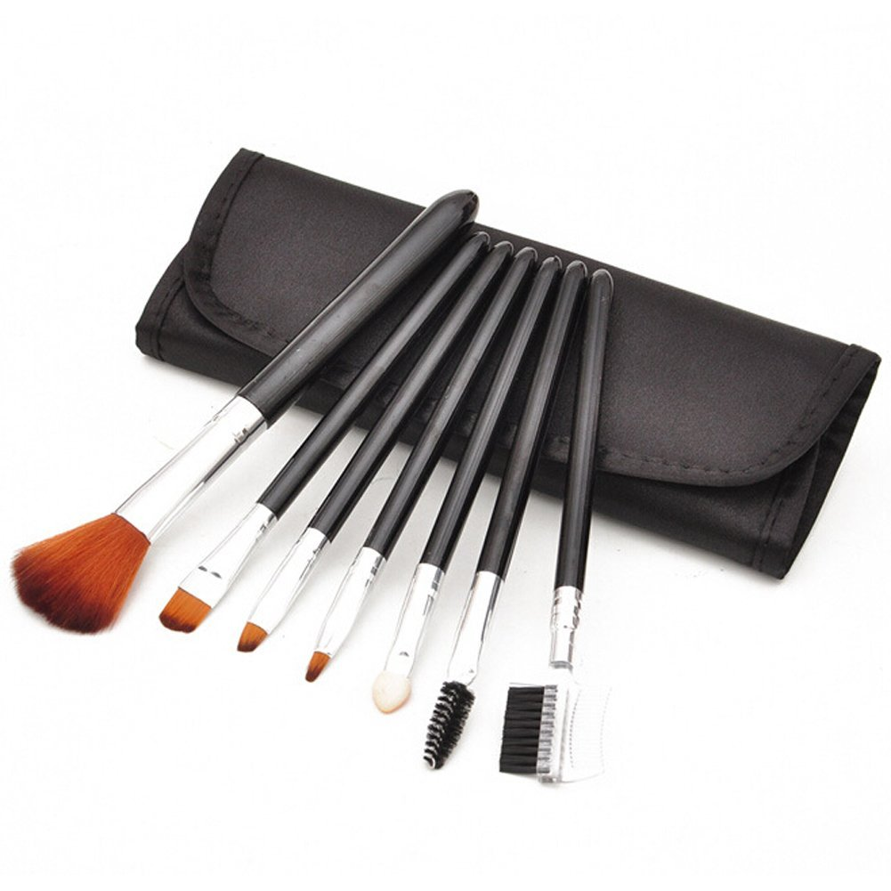 Addfavor 7 PCS Makeup Brush Professional Cosmetics Brush Set Makeup Kit Foundation Flawless Blending Blush Beauty Make up Brushes Tools with Case , Black, Pink, Purple (Black)