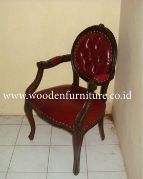 French Style Chair Antique Reproduction Leather Arm Vintage Wooden Dining Clic European Home Furniture Country