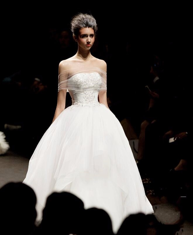 NW1125 Embroidery Beaded Off-shoulder Top Tulle Ball Gown Alibaba Wedding Dress