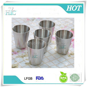 1oz Fill-Lined 18/8 Stainless Steel Shot Glass, stainless steel mini wine cups with custom logo,cheap 30ml shot metal glass cup