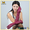 elbow length sex long ladies leather gloves with knitted wool