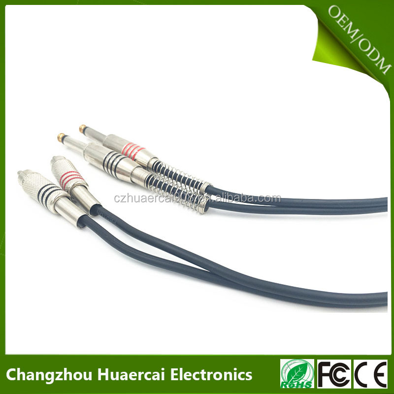 2 x 6.3mm Mono Plug to 2 x RCA Phono Plugs Nickel Plated Audio Cable