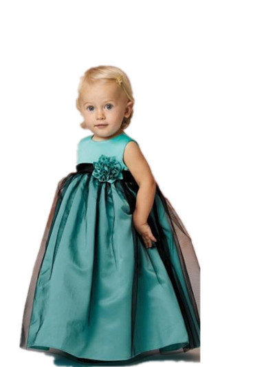 Flower Girl Dres Floor-Length Ball Gown Scoop Tank Flowers Sashes Bow Sashes Kids Evening Baby Party Frocks