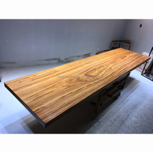 long solid wood slab rustic meeting table study room work table