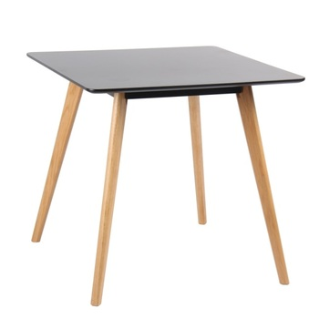 Cheapest Nordic Modern Square Black Matt MDF Table Top Solid Wood Legs  Dining Room Table