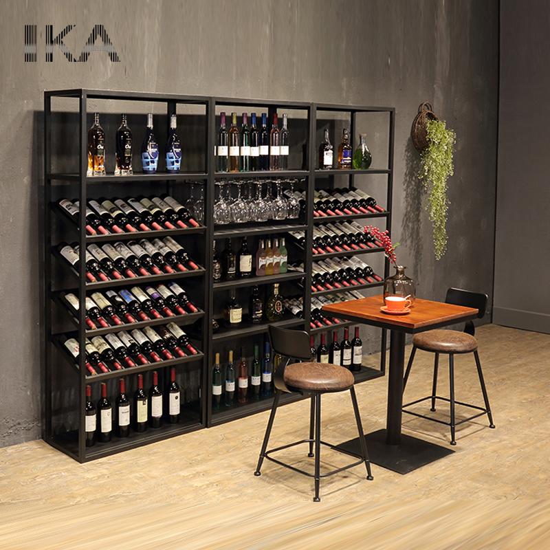 European Style Wrought Iron Wine Cabinet Display Floor Stand Bar Rack Showcase High Quality Shelves Modern