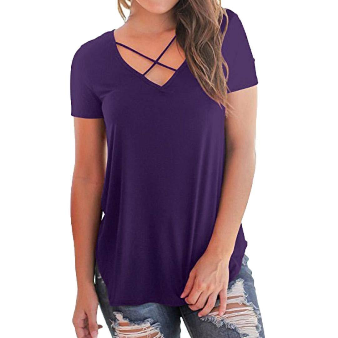Women's T-Shirt Tops Tees Clearance Blouse Short Sleeve Criss Cross Front