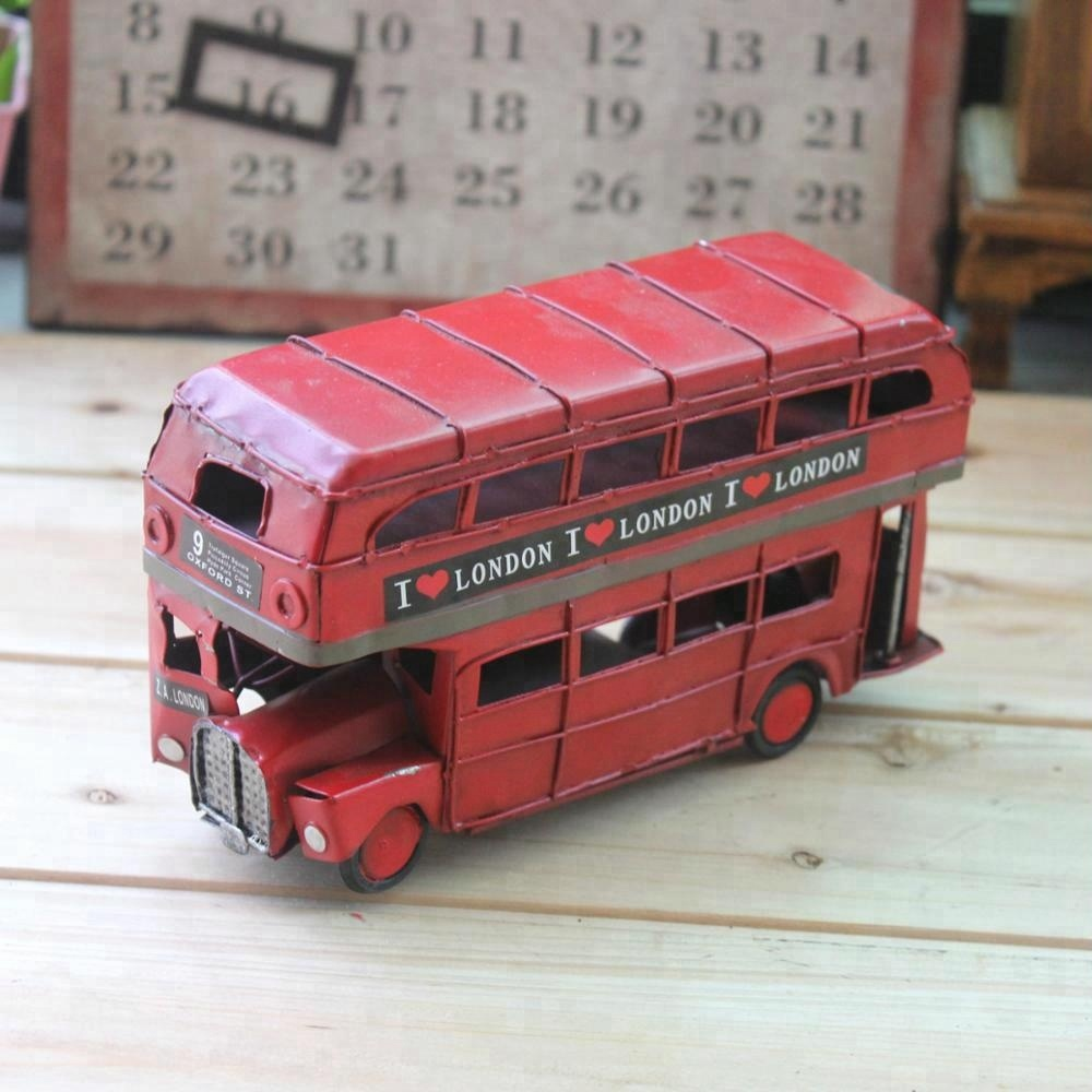 Retro British Street I Love The London Double-Decker Red Bus Handmade Tin Car Model <strong>Crafts</strong>