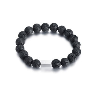 men new hot fashion bead bracelet lava natural stone beads onyx yoga buddha with bar charm bracelet jewelry