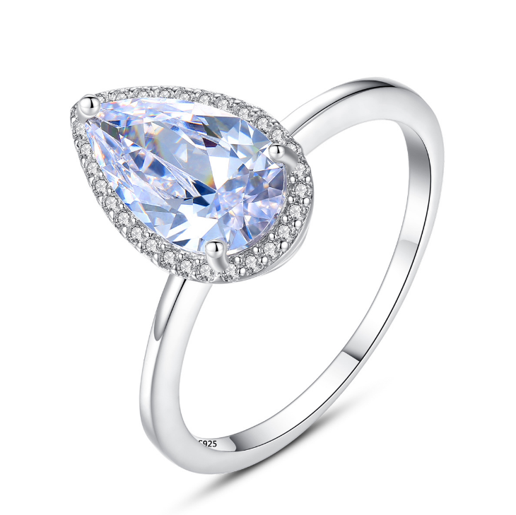 Genuine 925 Sterling Silver Big Heart AAA Cubic Zirconia Solitaire <strong>Ring</strong>
