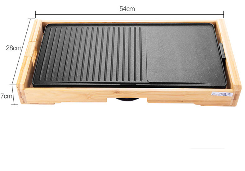 Non-Stick Coating Portable Bamboo Wood Electric Baking Pan Barbecue Baking Grill Pan
