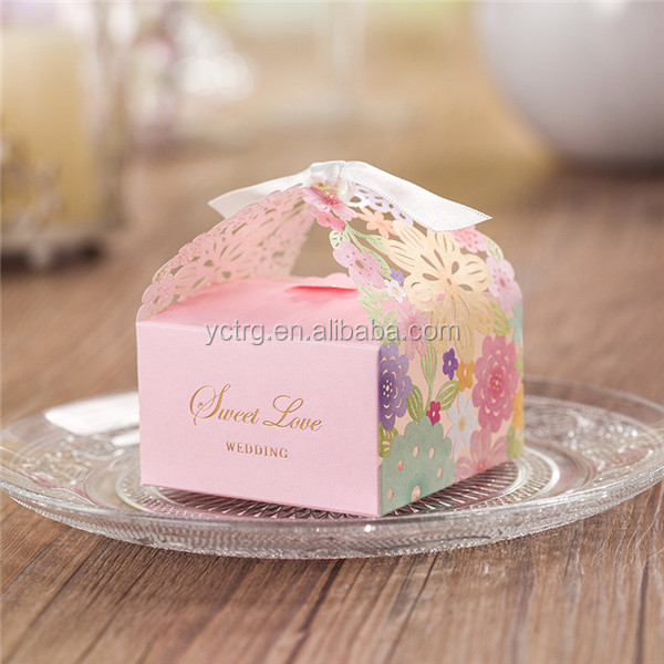 New Laser cut ribbon wedding favor candy box
