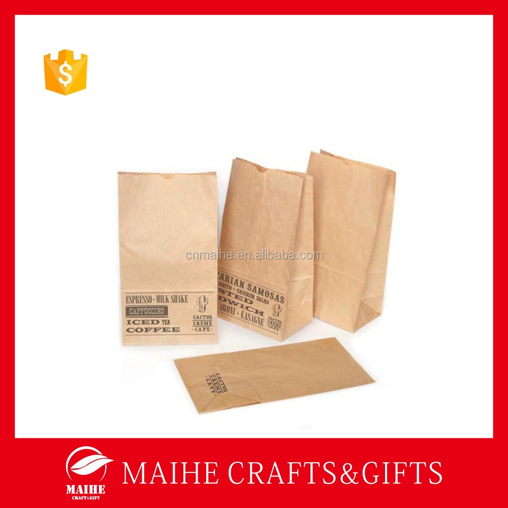 Block Bottom Bag,Takeaway Thin Kraft Paper Food Bag