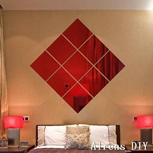 Alrens_DIY(TM)16 x 16CM 9 pcs Squares DIY Mirror Effect Reflective 3D Wall Stickers Home Decoration Living Room Bedroom Bathroom Decor Mural Decal adesivo de parede Removable Design Art (Red)