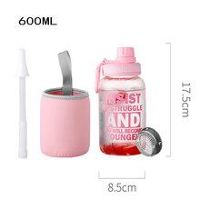 1000 мл 600 мл стеклянная бутылка для воды спортивная наружная большая емкость бутылка для воды солома 304 нержавеющая сталь Чайный фильтр свобо...(Китай)